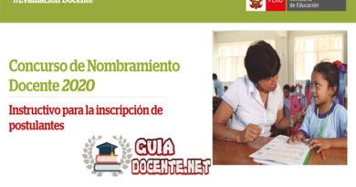 NOMBRAMIENTO DOCENTE 2020: Instructivo para Inscripción de Postulantes