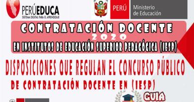 MINEDU: Disposiciones que regulan el concurso público de contratación docente en Institutos pedagógicos públicos
