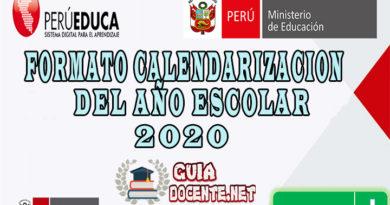 FORMATO CALENDARIZACION DEL AÑO ESCOLAR - 2020