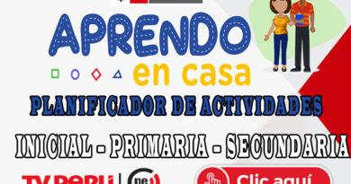APRENDO EN CASA - PLANIFICADOR DE ACTIVIDADES DE LA SEMANA 1
