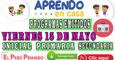 Aprendo en Casa – Programas emitidos del Viernes 15 de mayo
