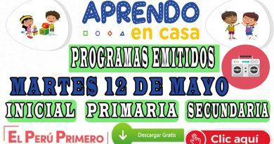 Aprendo en Casa – Revisa los programas emitidos del martes 12 de mayo