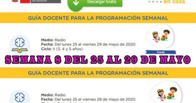 GUÍA DOCENTE PARA LA PROGRAMACIÓN SEMANAL – Nivel Inicial – Semana 8 [del 25 al 29 de mayo]