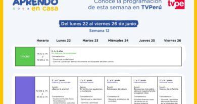 APRENDO EN CASA – Conoce la programación de la semana 12