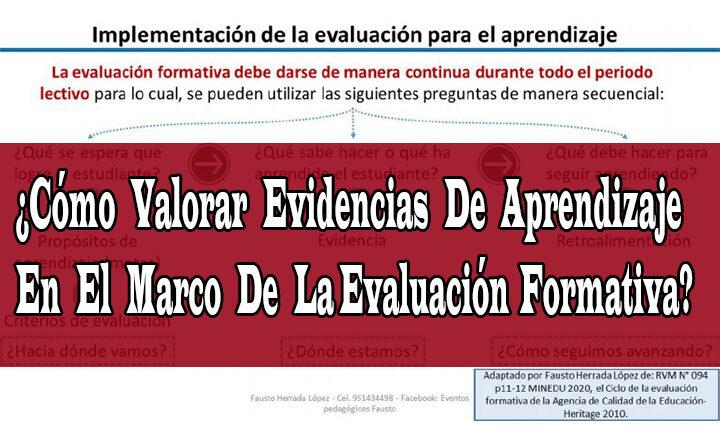 ¿Cómo Valorar Evidencias De Aprendizaje En El Marco De La Evaluación Formativa?