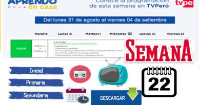 Aprendo en Casa - Horario de Radio y TV Semana 22