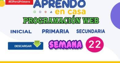 Aprendo en Casa - Programación web semana 22 – inicial, primaria y secundaria del 31 de agosto al 04 de septiembre