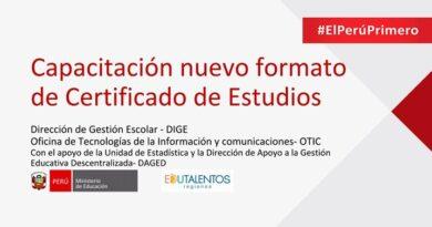 MINEDU nuevo formato digital de certificado de estudios