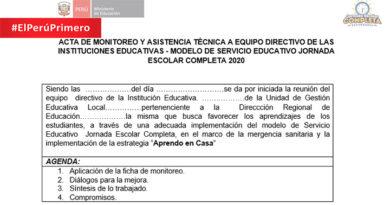 ACTA DE MONITOREO Y ASISTENCIA TÉCNICA A EQUIPO DIRECTIVO DE LAS INSTITUCIONES EDUCATIVAS EN BASE A LA ESTRATEGIA APRENDO EN CASA