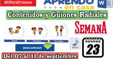 Aprendo En Casa: Contenidos y Guiones Radiales – Semana 23 [del 07 al 11 de septiembre]