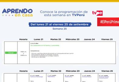 Aprendo en Casa horario de Radio y TV Semana 25