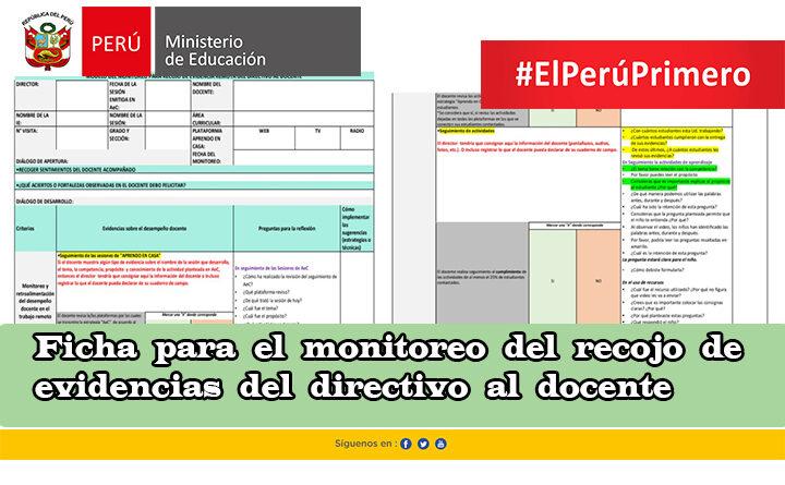 Ficha para el monitoreo del recojo de evidencias del directivo al docente