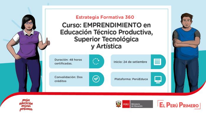 PERÚEDUCA - Curso de Emprendimiento en Educación Técnico Productiva, Superior Tecnológica y Artística
