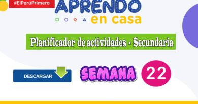 PLANIFICADOR Y REVISIÓN DE LAS ACTIVIDADES DE APRENDIZAJE DE APRENDO EN CASA SECUNDARIA - SEMANA 22