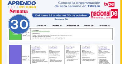 Aprendo en Casa Semana 30 Programación Radio y TV del 26 al 30 de Octubre