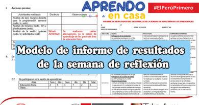 Modelo de informe de resultados de la semana de reflexión - Aprendo en casa
