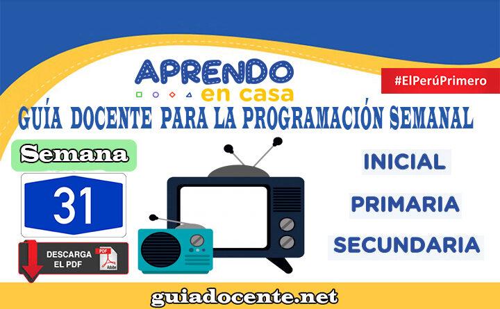 SEMANA 31 Guía docente para la programación Radio y TV Aprendo en Casa del 02 al 06 de noviembre