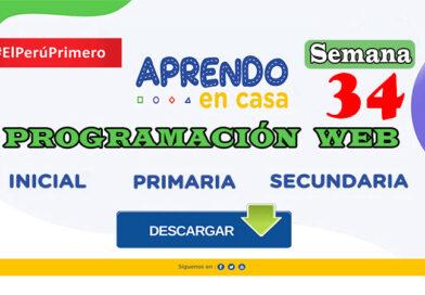 Aprendo en Casa Semana 34 – Programación web inicial, primaria y secundaria del lunes 23 al viernes 27 de octubre