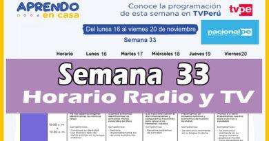 Semana 33   Aprendo en Casa Programación Radio y TV del 16 al 20 de noviembre