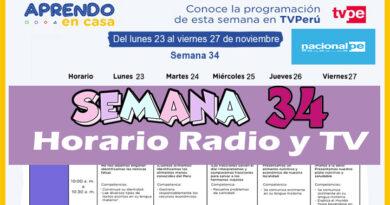 Semana 34 | Aprendo en Casa Programación Radio y TV del 23 al 27 de noviembre