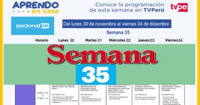 Semana 35   Aprendo en Casa Programación Radio y TV del 30 al 04 de diciembre