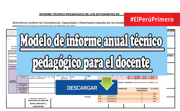 Modelo de informe anual técnico pedagógico para el docente
