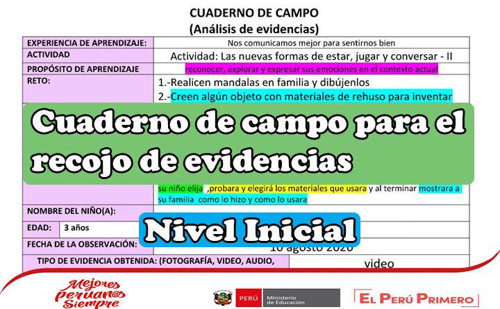 Cuaderno de campo para el recojo de evidencias del nivel inicial