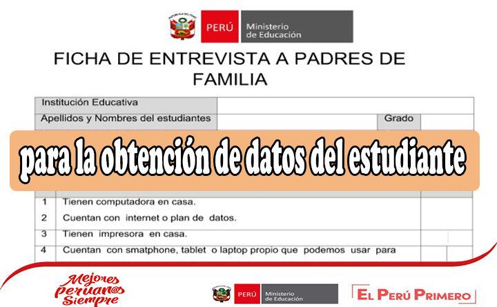 Ficha de entrevista a padres de familia para la obtención de datos del estudiante