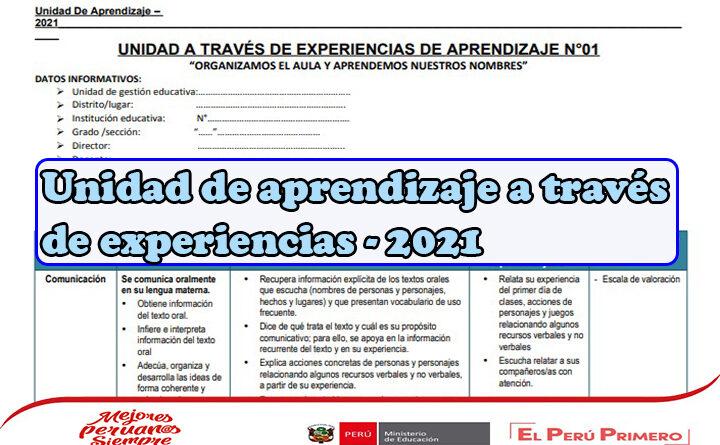Unidad de aprendizaje a través de experiencias - 2021