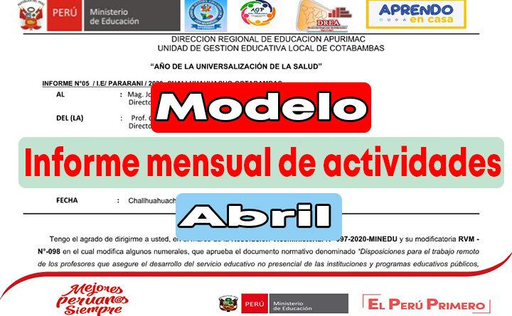 Modelo de informe mensual de actividades - Abril