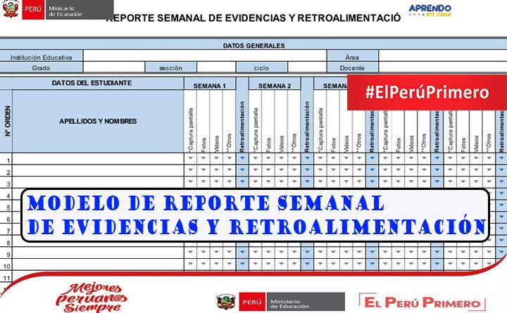 Modelo de reporte semanal de evidencias y retroalimentación